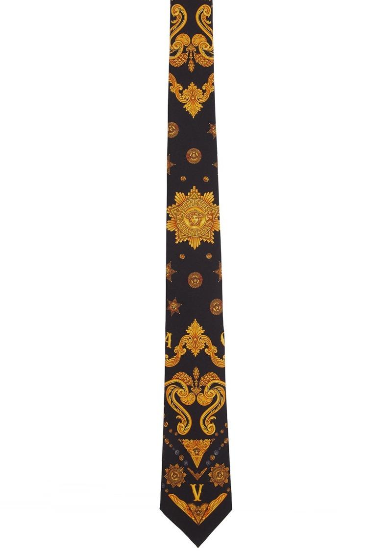 Versace Black Sheriff Barocco Tie