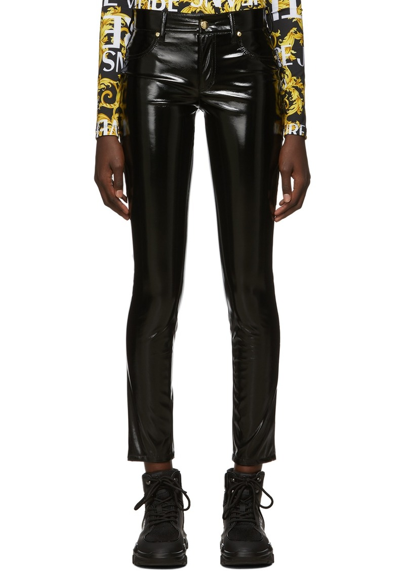 Versace Black Shiny Vinyl Trousers