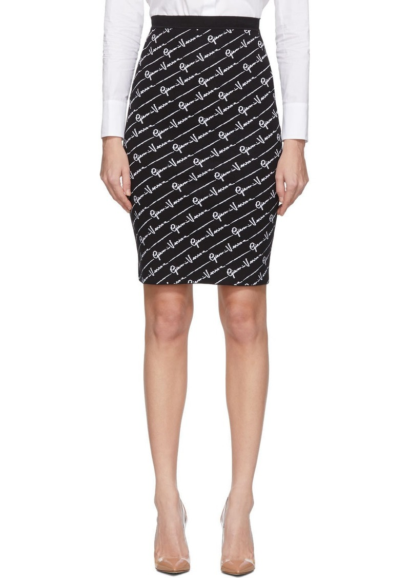 Versace Black Signature Jacquard Skirt