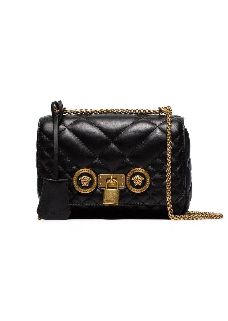Versace Black Small Quilted Leather Shoulder Bag
