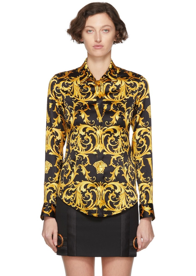 Versace Black 'V' Baroque Shirt
