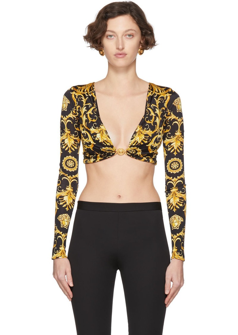 Versace Black Western Baroque Draped Bra