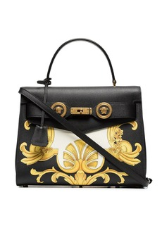 Versace black, white and yellow barocco print icon leather bag