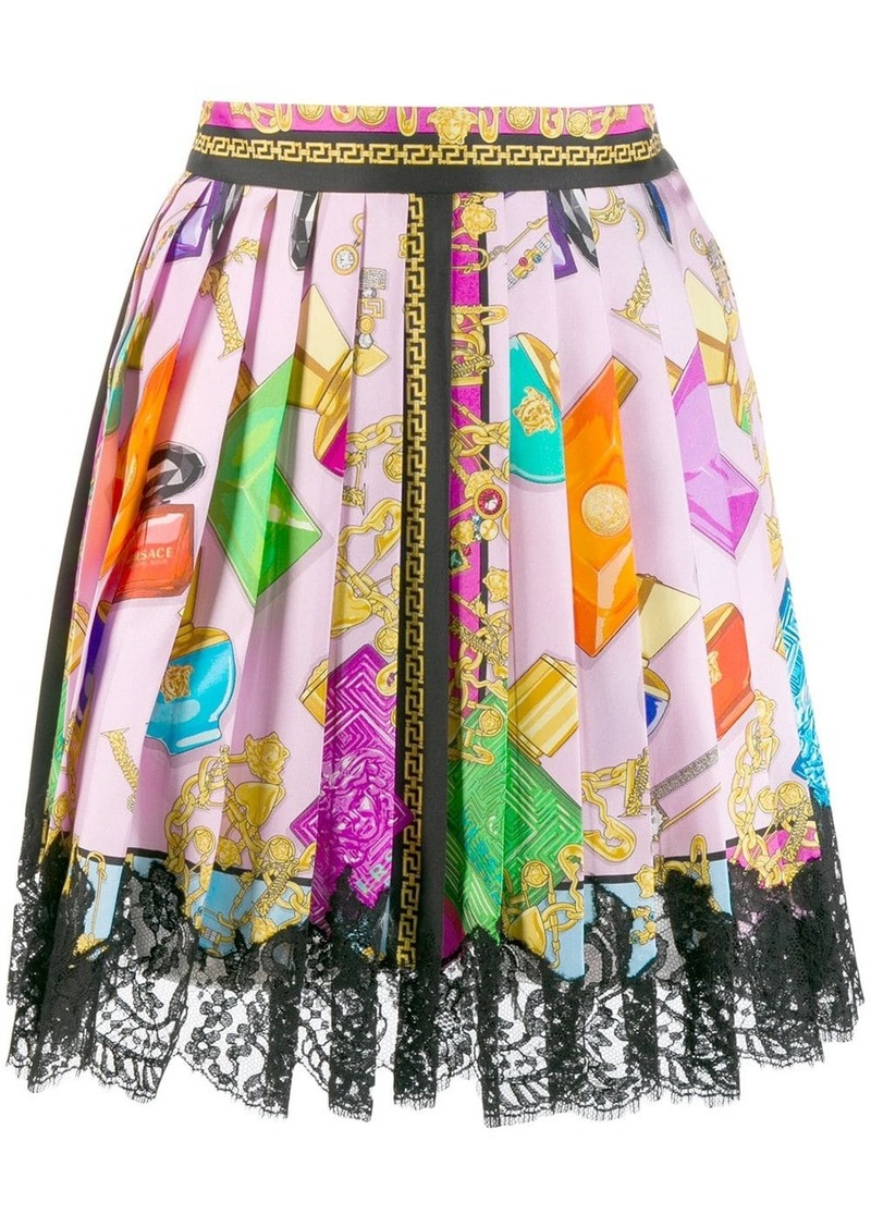 Versace Blonde print lace skirt