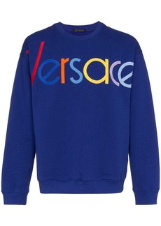 Versace blue logo embroidered jumper