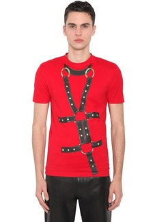 Versace Bondage Print Cotton Jersey T-shirt