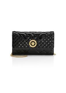 Versace Borsa Vernice Patent Leather Chain Wallet