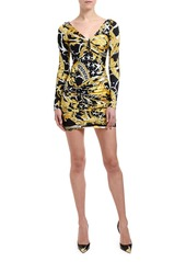 Versace Brocade-Print Ruched Mini Dress