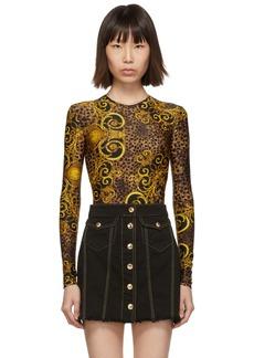Versace Brown & Yellow Leopard Baroque Bodysuit