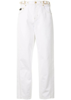 Versace buckle cropped high-waisted jeans