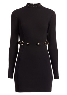 Versace Buckle Detail Mockneck Dress