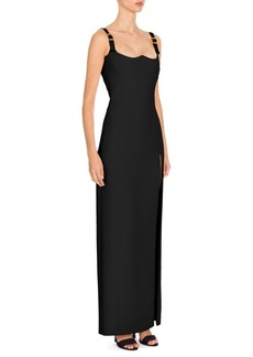 Versace Buckle Strap Silk Cady Gown