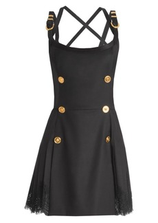 Versace Buckle-Strap Wool-Blend Apron Dress