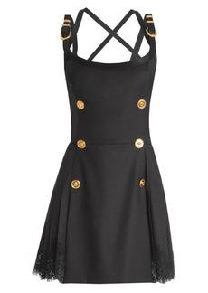 Versace Buckle-Strap Wool-Blend Apron Dress