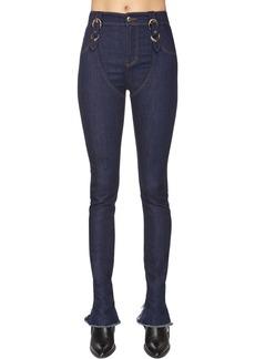 Versace Buckled Cotton Denim Jeans