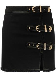 Versace buckled denim mini skirt