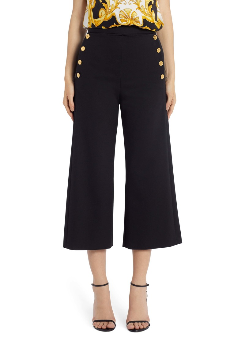 Versace Burberry Medusa Button Stretch Wool Crop Wide Leg Pants