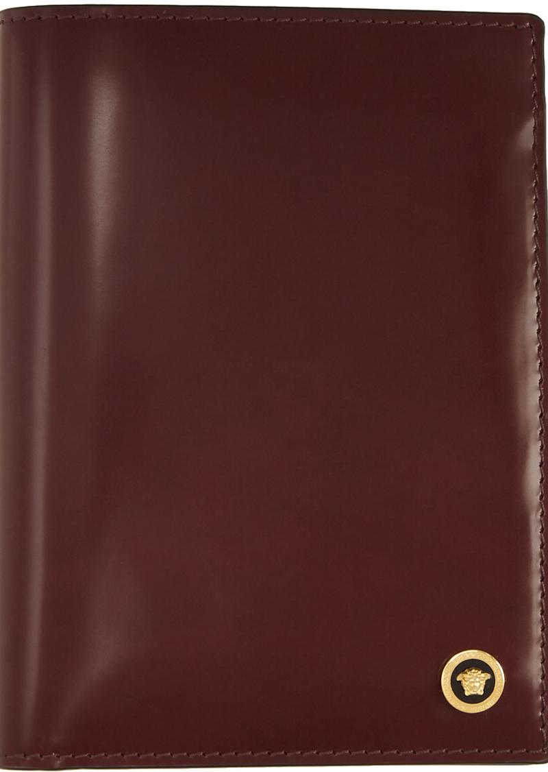 Versace Burgundy Patent Medusa Passport Holder