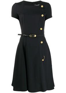 Versace button-detail A-line dress