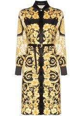 Versace button-down baroque print belted silk midi dress