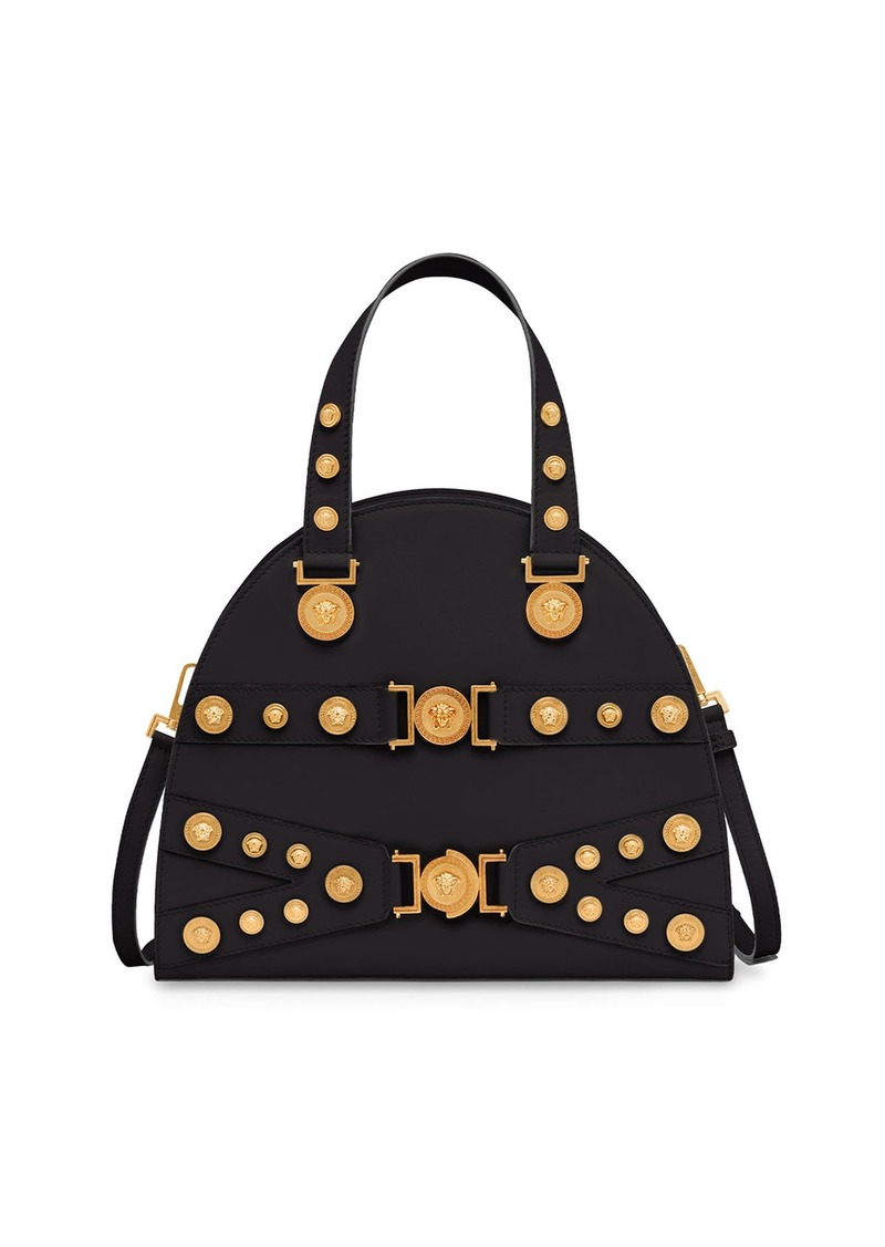 d9b03fd91fe1 Versace Calf Leather Medusa Medallion Top Handle Tote Bag