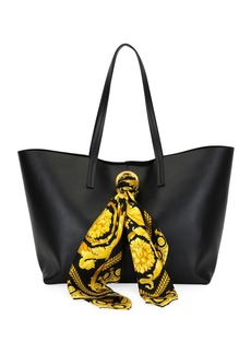 Versace Calf Leather Shoulder Tote Bag with Barocco Scarf