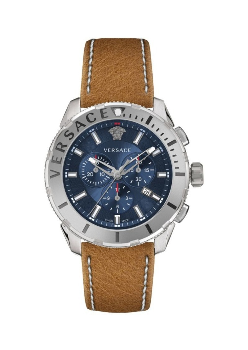 Versace Casual Chrono Stainless Steel & Leather-Strap Watch