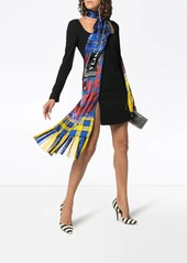 Versace checked scarf-detail dress