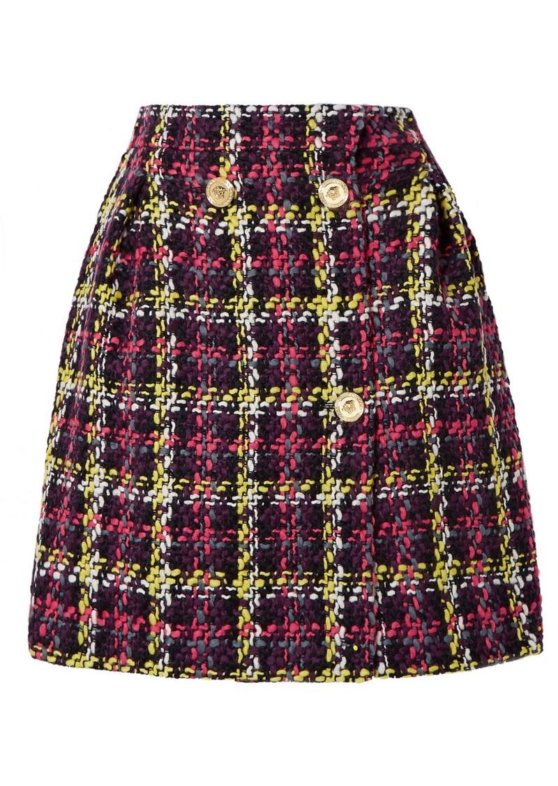 Versace Checked Wool-blend Tweed Mini Skirt