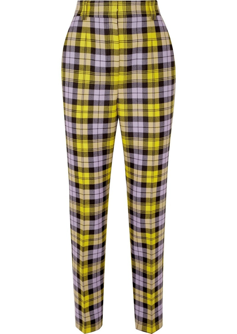 Versace Checked Woven Straight-leg Pants