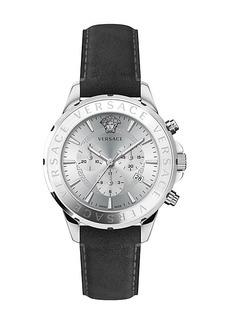 Versace Chrono Signature Stainless Steel & Leather Chronograph Watch