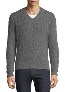Versace Chunky-Knit V-Neck Wool Sweater