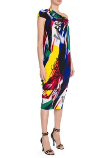 Versace Clash Print Off-The-Shoulder Dress