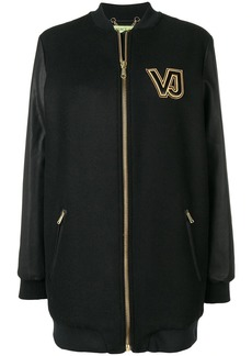 Versace contrast logo zipped coat