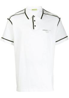 Versace contrast piped trim polo shirt