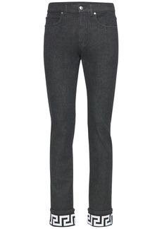 Versace Cotton Denim Jeans W/greca Detail