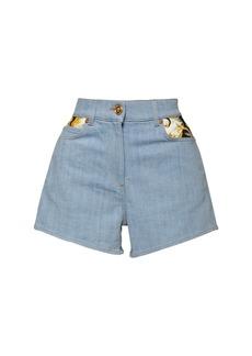 Versace Cotton Denim Shorts W/ Printed Inserts