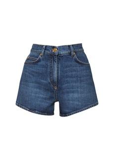 Versace Cotton Denim Shorts W/medusa