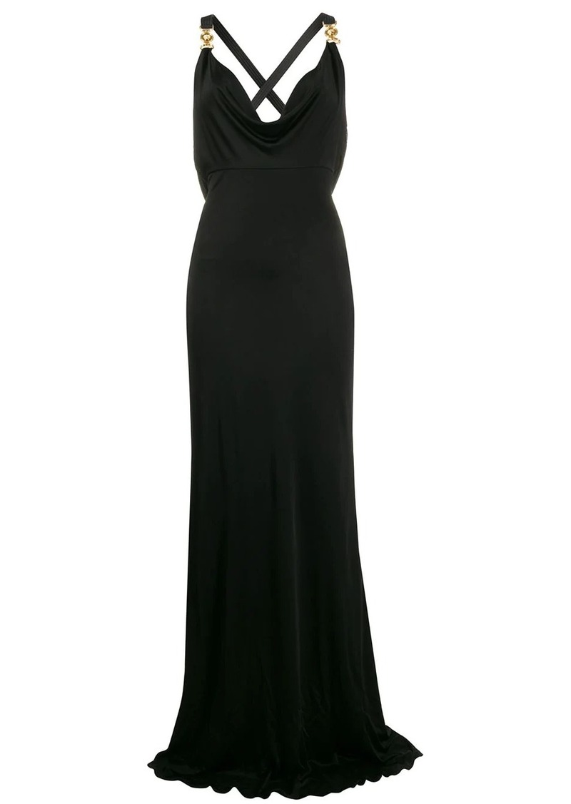 Versace cowl neck fitted dress