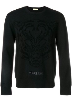 Versace crew neck logo printed sweater