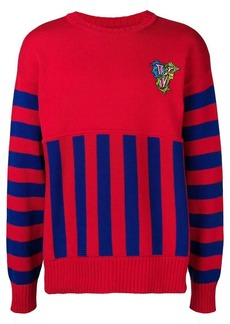 Versace crew neck panelled sweater
