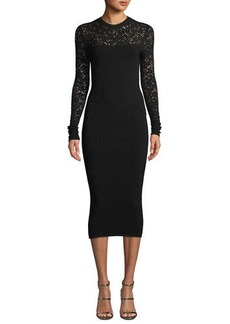 Versace Crewneck Long-Sleeve Tattoo-Knit Body-Con Dress