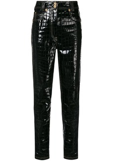Versace croco-embossed trousers