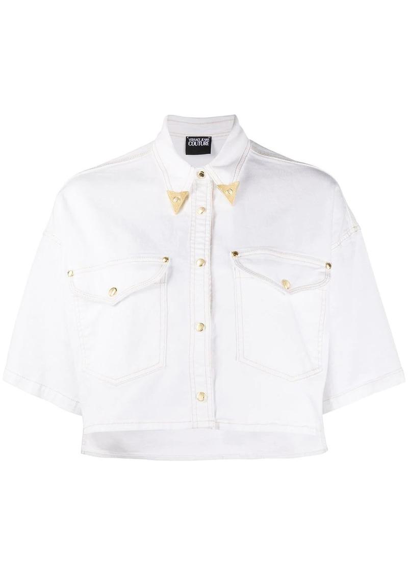 crop denim shirt