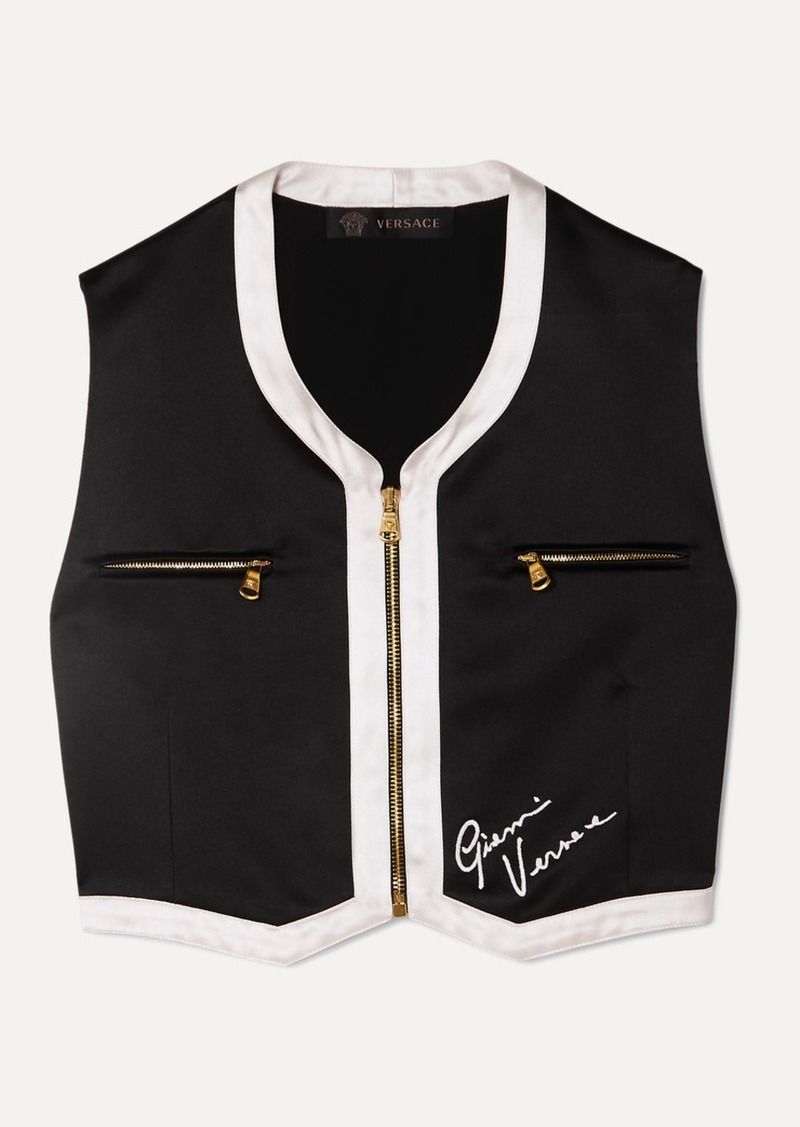 Cropped Embroidered Satin Vest