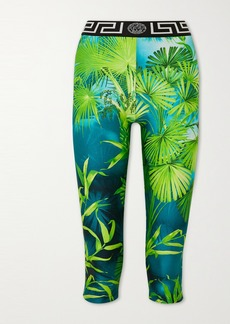 Versace Cropped Jacquard-trimmed Printed Stretch Leggings