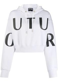 Versace cropped logo print hoodie