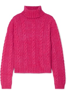 Versace Cropped Metallic Cable-knit Turtleneck Sweater