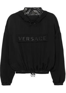 Versace Cropped Printed Silk-charmeuse Hoodie
