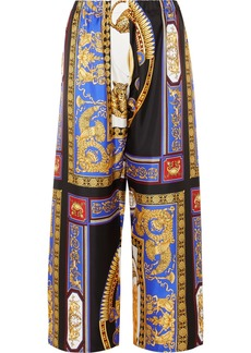 Versace Cropped Printed Silk-twill Wide-leg Pants